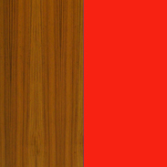 Teak with Red Back Painted glass